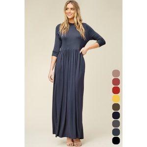 Size 3X - Women 3/4 sleeve long maxi dress Pockets